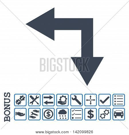 Bifurcation Arrow Left Down icon with bonus pictograms. Glyph style is flat iconic symbol, smooth blue colors, white background. Bonus style is bicolor square rounded frames with symbols inside.
