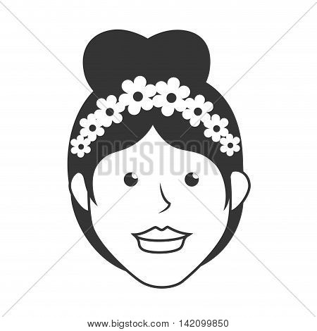 bride wife wedding marriage flowers hair female beauty dress vector graphic isolated and flat illustration