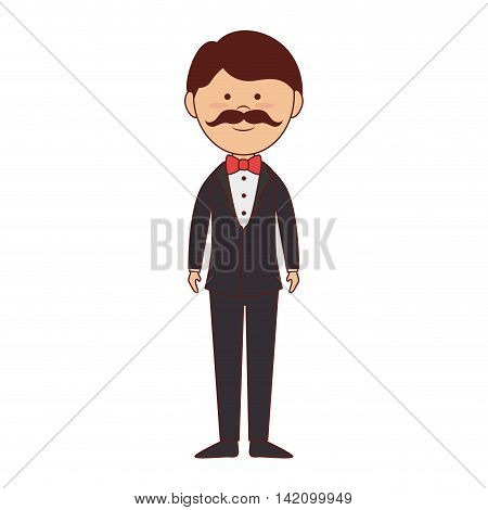 man suit bow tie elegant handsome mustache vector graphic isolated and flat illustration