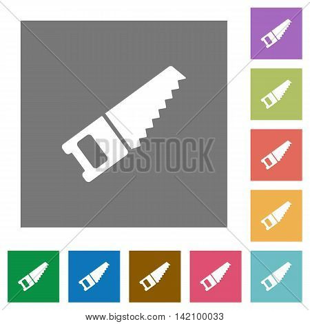Hand saw flat icon set on color square background.