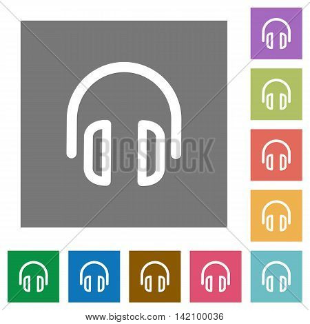 Headset flat icon set on color square background.