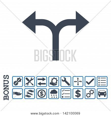 Bifurcation Arrows Left Right icon with bonus pictograms. Glyph style is flat iconic symbol, smooth blue colors, white background. Bonus style is bicolor square rounded frames with symbols inside.