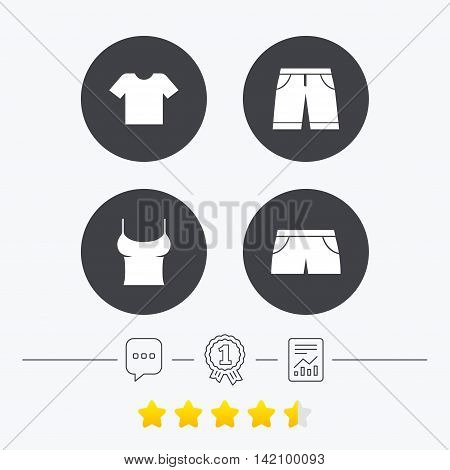 Clothes icons. T-shirt and bermuda shorts signs. Swimming trunks symbol. Chat, award medal and report linear icons. Star vote ranking. Vector