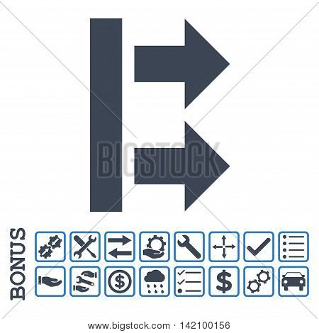 Bring Right icon with bonus pictograms. Glyph style is flat iconic symbol, smooth blue colors, white background. Bonus style is bicolor square rounded frames with symbols inside.