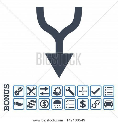 Combine Arrow Down icon with bonus pictograms. Glyph style is flat iconic symbol, smooth blue colors, white background. Bonus style is bicolor square rounded frames with symbols inside.