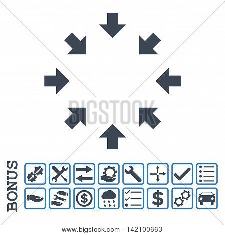 Compact Arrows icon with bonus pictograms. Glyph style is flat iconic symbol, smooth blue colors, white background. Bonus style is bicolor square rounded frames with symbols inside.