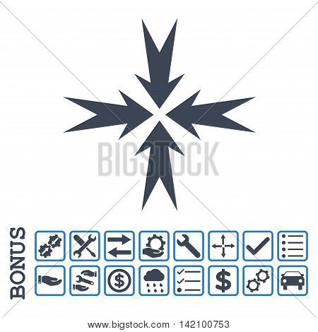 Compression Arrows icon with bonus pictograms. Glyph style is flat iconic symbol, smooth blue colors, white background. Bonus style is bicolor square rounded frames with symbols inside.