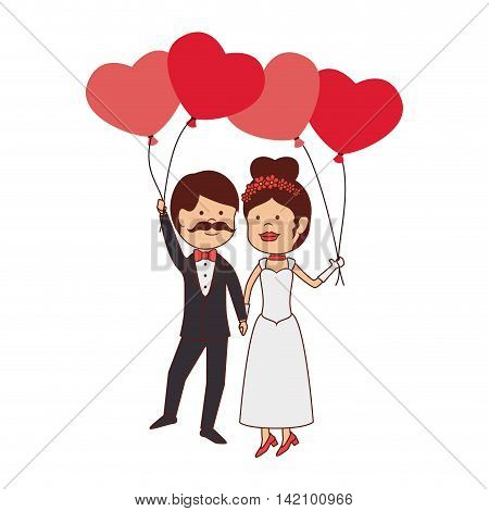 husbands love man wife women balloons heart dress bow tie vector graphic isolated and flat illustration