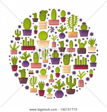 Vector circular  illustration with cartoon isolated cactus icon. Vector house plant in flowerpot home interior background. Desert mexican succulent.