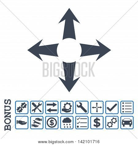 Expand Arrows icon with bonus pictograms. Glyph style is flat iconic symbol, smooth blue colors, white background. Bonus style is bicolor square rounded frames with symbols inside.