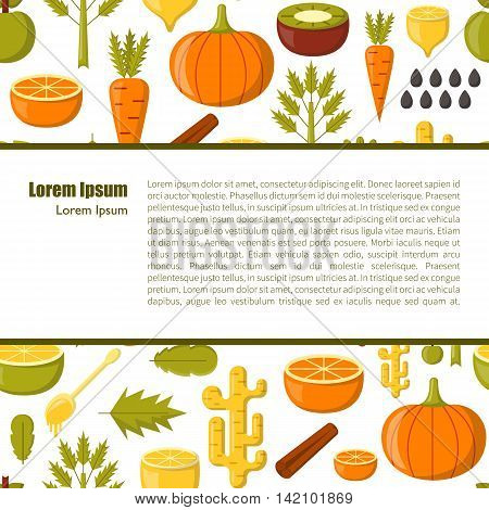 Vector illustration with cartoon summer ingredients for detox smoothie. Vegetables fruits chia seeds cartoon background. Fresh detox smoothie vitamin healthy living. Vegan diet vegetarian lifestyle