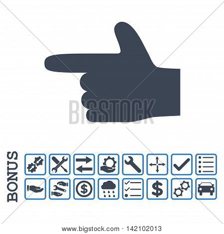 Hand Pointer Left icon with bonus pictograms. Glyph style is flat iconic symbol, smooth blue colors, white background. Bonus style is bicolor square rounded frames with symbols inside.