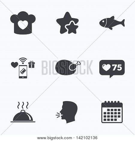 Chief hat with heart and cooking pan icons. Fish and chicken signs. Hot food platter serving symbol. Flat talking head, calendar icons. Stars, like counter icons. Vector