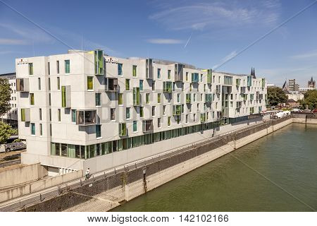 COLOGNE GERMANY - AUG 7 2016: Exterior of the contemporary Art Otel in the city of Cologne Germany