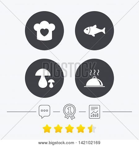 Chief hat with heart and cooking pan icons. Fish and boletus mushrooms signs. Hot food platter serving symbol. Chat, award medal and report linear icons. Star vote ranking. Vector