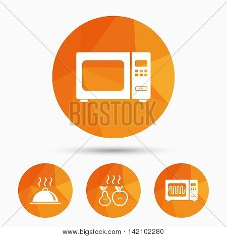 Microwave grill oven icons. Cooking apple and pear signs. Food platter serving symbol. Triangular low poly buttons with shadow. Vector