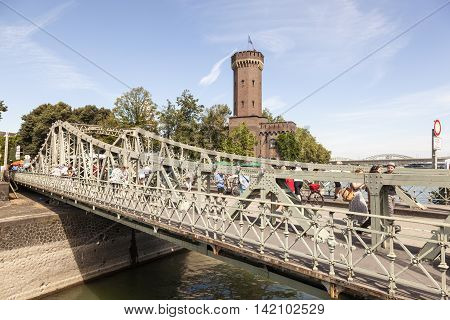 COLOGNE GERMANY - AUG 7 2016: Historic swing bridge at the Rheinauhafen in the city of Cologne Germany