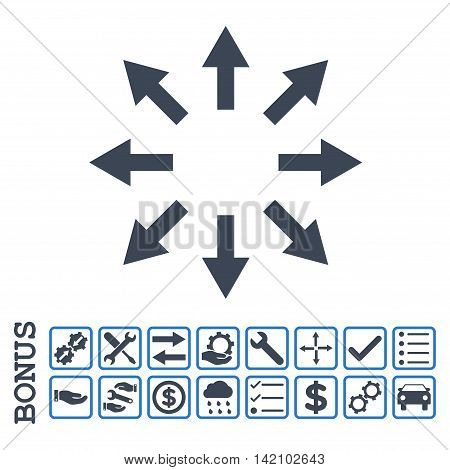 Radial Arrows icon with bonus pictograms. Glyph style is flat iconic symbol, smooth blue colors, white background. Bonus style is bicolor square rounded frames with symbols inside.