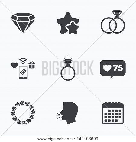 Rings icons. Jewelry with shine diamond signs. Wedding or engagement symbols. Flat talking head, calendar icons. Stars, like counter icons. Vector