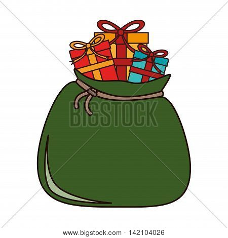 santa claus sack bag gifts ribbon christmas vector graphic isolated and flat illustration