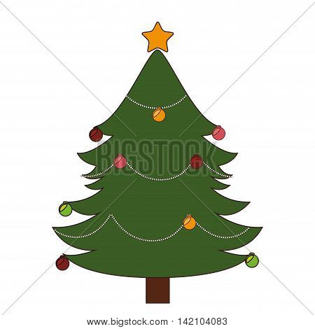 christmas ball star tree tradition december decoration season object vector graphic isolated and flat illustration