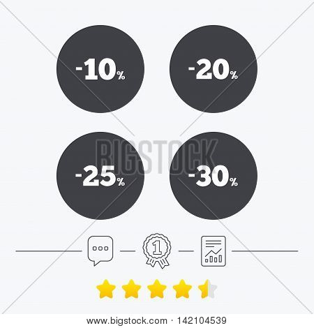 Sale discount icons. Special offer price signs. 10, 20, 25 and 30 percent off reduction symbols. Chat, award medal and report linear icons. Star vote ranking. Vector