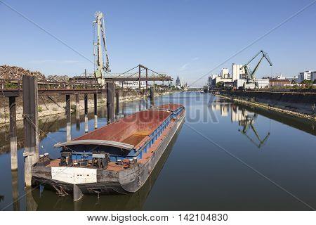 Inner harbor at the Rhine river in Cologne Deutz. North Rhine-Westphalia Germany