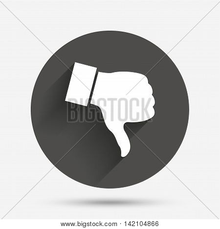 Dislike sign icon. Thumb down sign. Hand finger down symbol. Circle flat button with shadow. Vector