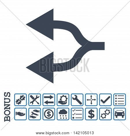 Split Arrows Left icon with bonus pictograms. Glyph style is flat iconic symbol, smooth blue colors, white background. Bonus style is bicolor square rounded frames with symbols inside.