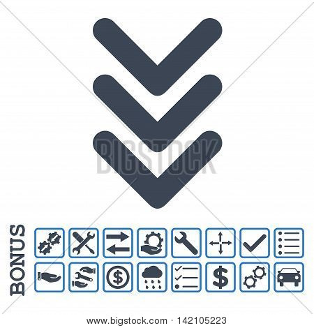 Triple Arrowhead Down icon with bonus pictograms. Glyph style is flat iconic symbol, smooth blue colors, white background. Bonus style is bicolor square rounded frames with symbols inside.