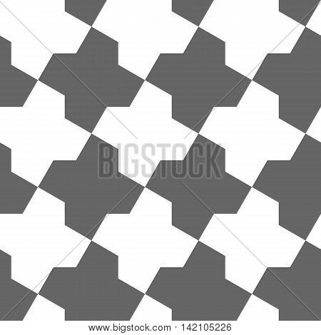 Seamless Geometric Pattern. Regular Tiled white and grey Ornament. Vector