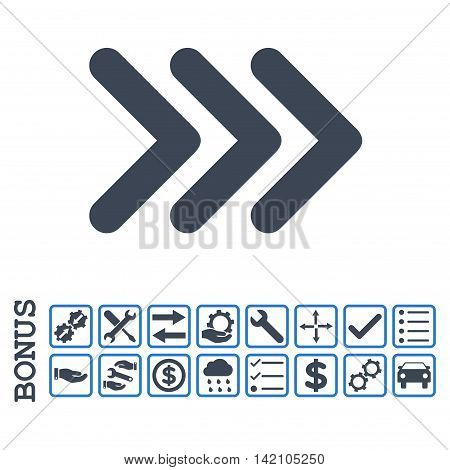 Triple Arrowhead Right icon with bonus pictograms. Glyph style is flat iconic symbol, smooth blue colors, white background. Bonus style is bicolor square rounded frames with symbols inside.