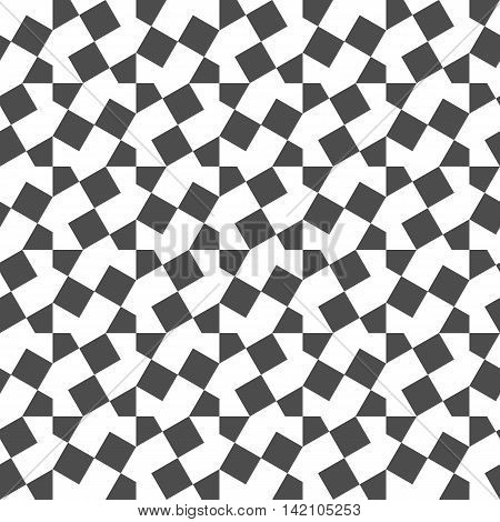 Seamless Geometric Pattern. Regular Tiled black and white square Ornament. Vector