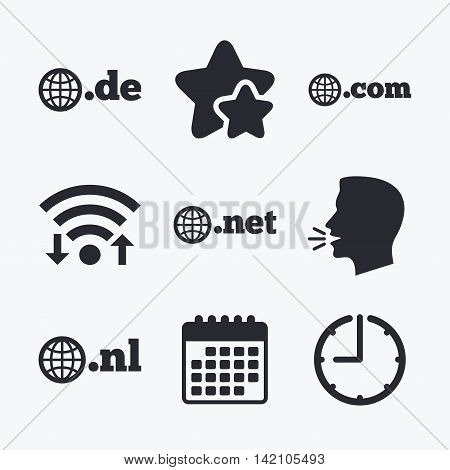 Top-level internet domain icons. De, Com, Net and Nl symbols with globe. Unique national DNS names. Wifi internet, favorite stars, calendar and clock. Talking head. Vector
