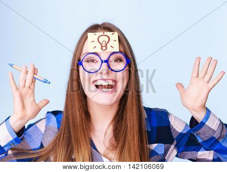Woman Thinking Light Idea Bulb On Head, Creative Girl Lots Of Ideas