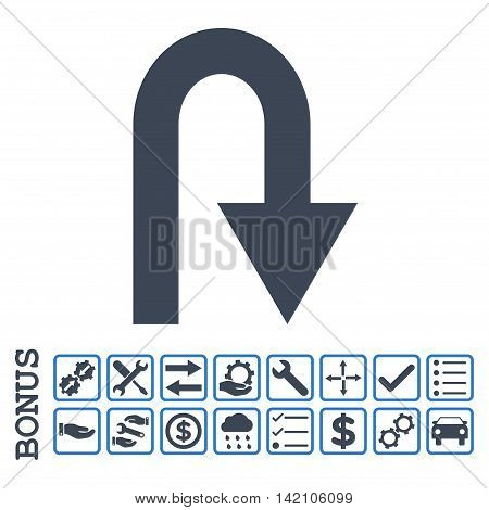U Turn icon with bonus pictograms. Glyph style is flat iconic symbol, smooth blue colors, white background. Bonus style is bicolor square rounded frames with symbols inside.