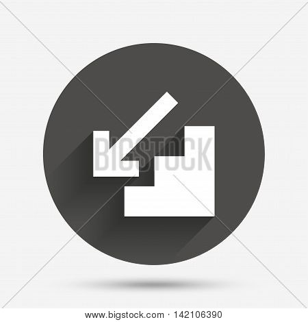 Downstairs icon. Down arrow sign. Circle flat button with shadow. Vector
