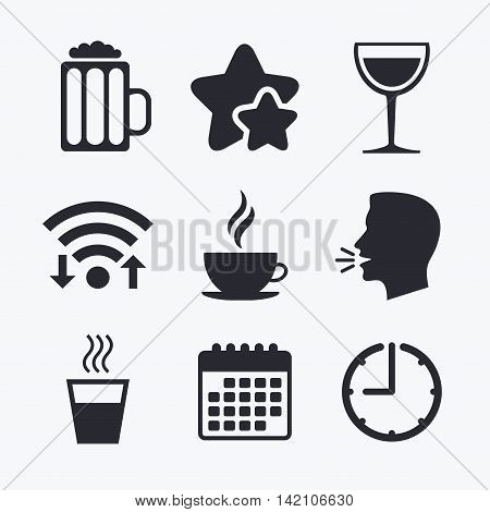 Drinks icons. Coffee cup and glass of beer symbols. Wine glass sign. Wifi internet, favorite stars, calendar and clock. Talking head. Vector