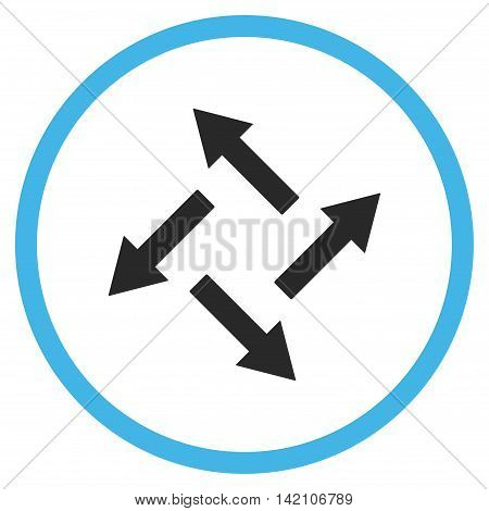 Centrifugal Arrows glyph icon. Style is bicolor flat rounded iconic symbol, centrifugal arrows icon is drawn with blue and gray colors on a white background.