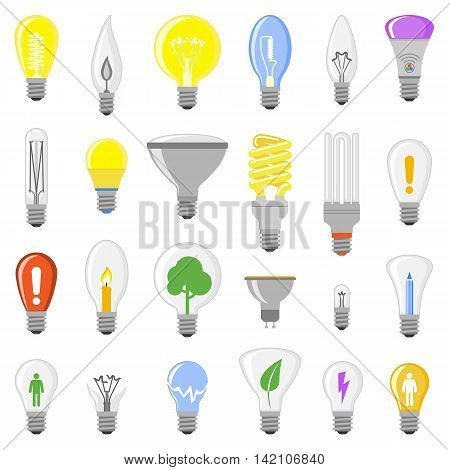 Cartoon lamps electric and bright cartoon interior lamps flat vector. Cartoon lamps light bulb electricity design flat vector illustration. Different lamps