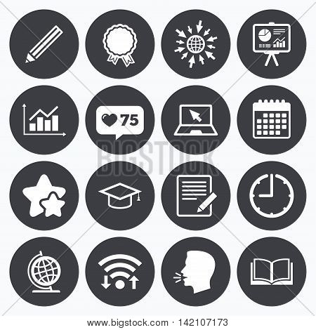 Calendar, wifi and clock symbols. Like counter, stars symbols. Education and study icon. Presentation signs. Report, analysis and award medal symbols. Talking head, go to web symbols. Vector