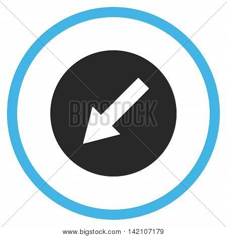 Down-Left Rounded Arrow glyph icon. Style is bicolor flat rounded iconic symbol, down-left rounded arrow icon is drawn with blue and gray colors on a white background.