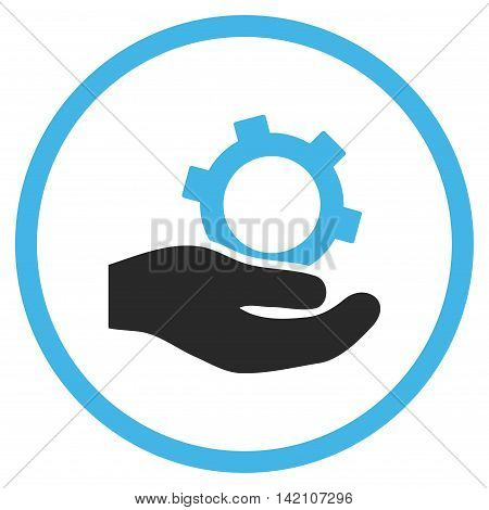 Engineering Service glyph icon. Style is bicolor flat rounded iconic symbol, engineering service icon is drawn with blue and gray colors on a white background.