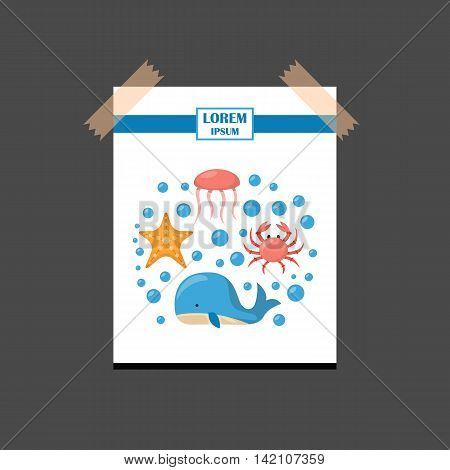 Vector cartoon illustration sea animals background: crab starfish shark whale. Children book cartoon cover or illustration. Fish market or aquarium vector icons. Underwater creature background