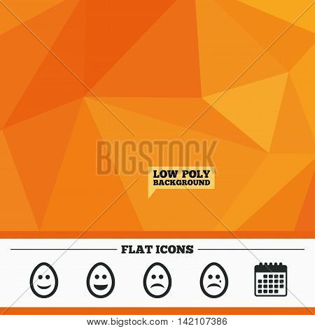 Triangular low poly orange background. Eggs happy and sad faces icons. Crying smiley with tear symbols. Tradition Easter Pasch signs. Calendar flat icon. Vector