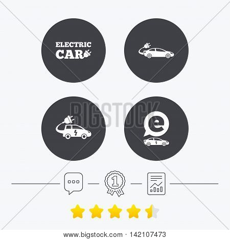 Electric car icons. Sedan and Hatchback transport symbols. Eco fuel vehicles signs. Chat, award medal and report linear icons. Star vote ranking. Vector