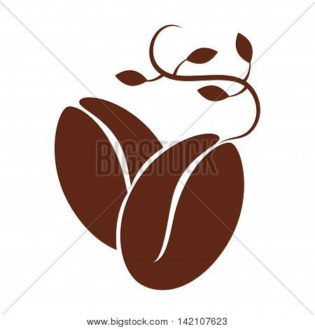 bean leaf coffee natural organic cafe plant vector graphic isolated and flat illustration