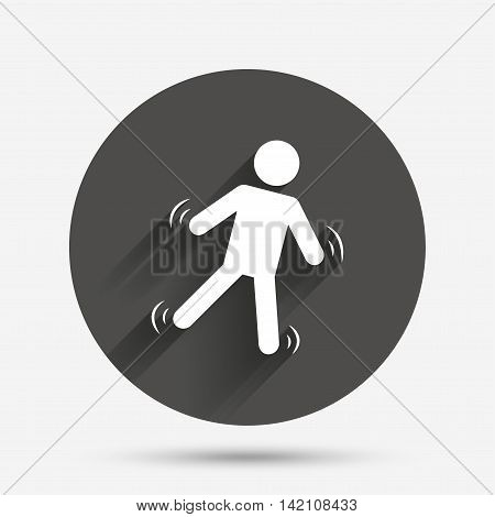 Man falls sign icon. Falling down human symbol. Caution slippery. Circle flat button with shadow. Vector