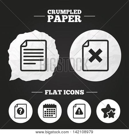 Crumpled paper speech bubble. File attention icons. Document delete symbols. Question mark sign. Paper button. Vector