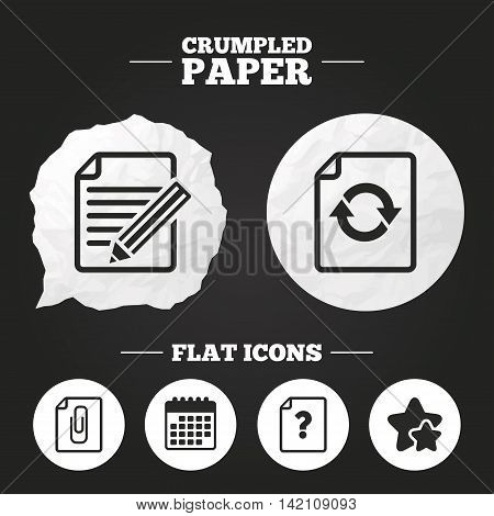 Crumpled paper speech bubble. File refresh icons. Question help and pencil edit symbols. Paper clip attach sign. Paper button. Vector